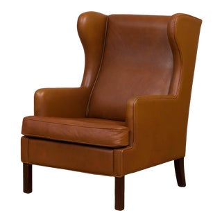 Classic Danish Mid-Century Leather Wing-Back Armchair For Sale