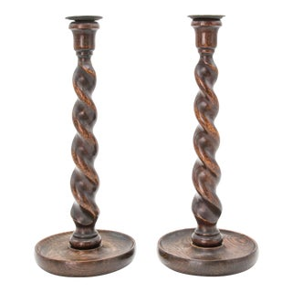 Antique English Barley Twist Oak Candlesticks - a Pair For Sale