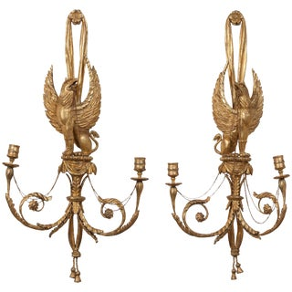 Pair of Regency Style Giltwood Gryphon Wall Sconces For Sale