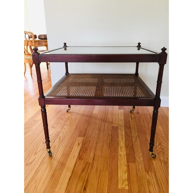 Baker Furniture Cane British Colonial Cocktail Table on Casters For Sale - Image 10 of 11