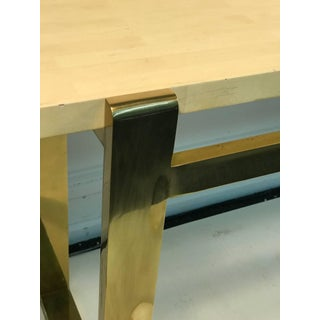Console Table Brass With Faux Goatskin Top Preview