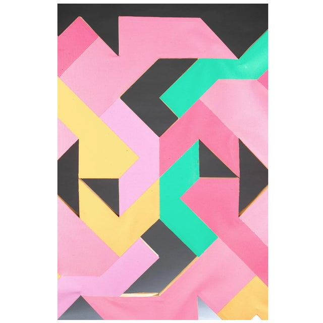 Geometric Hard Edge Painting by Sidney Guberman For Sale - Image 4 of 8