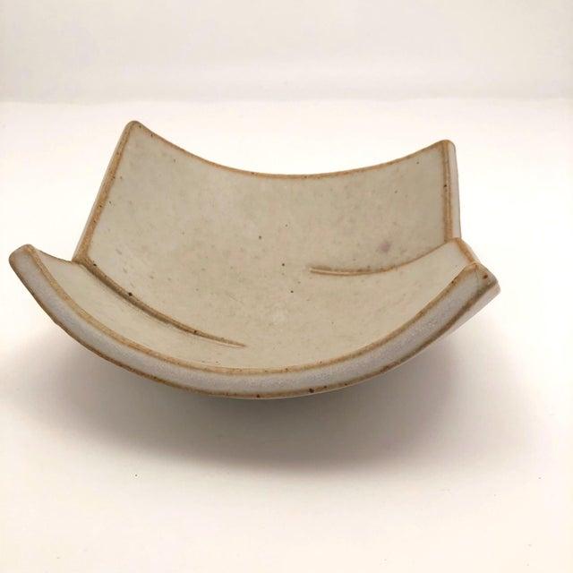 Cream Glazed Hand-Formed Slab Pottery Bowl Signed Burke For Sale - Image 4 of 13