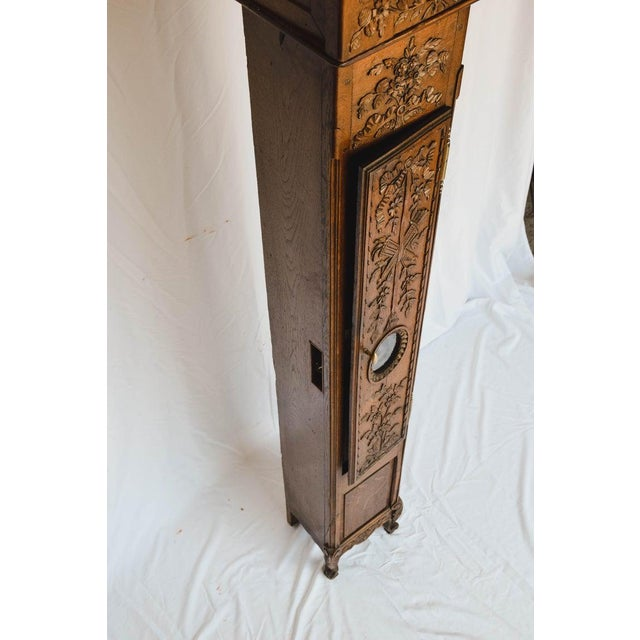 Carved 18th C French Lantern Clock Case With Movement For Sale - Image 10 of 13