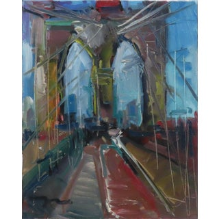 """""""City Bridge"""" Contemporary Expressionist Style Architectural Oil Painting by Jose Trujillo For Sale"""