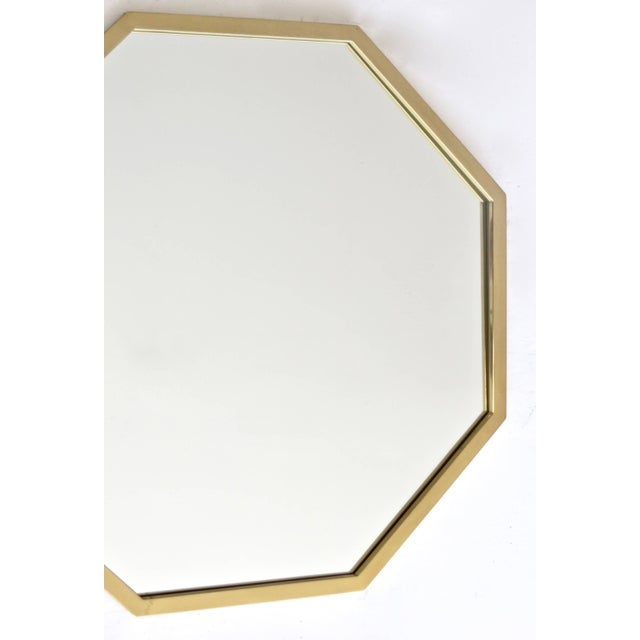 Italian Octagonal Brass Framed Mirror For Sale In Chicago - Image 6 of 7