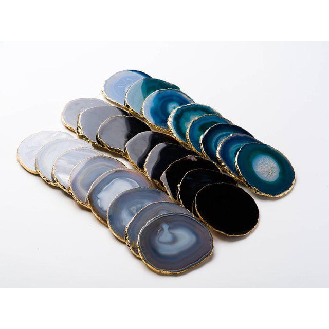 Set of Eight Semi-Precious Gemstone Coasters Grey Agate Wrapped in 24-Karat Gold For Sale - Image 10 of 11