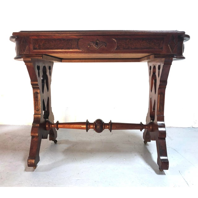Eastlake Victorian Leather Top Mahogany Hall Table For Sale - Image 13 of 13