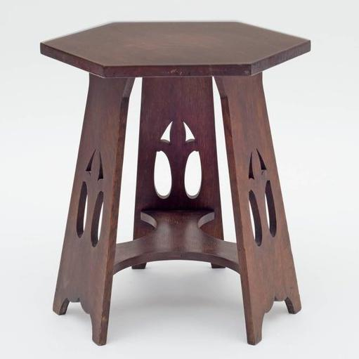 Stickley Brothers Quaint Furniture Co. Hexagonal Oak Taboret Table, Usa,  1900s   Image