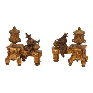 Late 19th Century Chinese Gilt Bronze Pair of Chenets For Sale