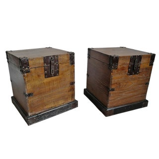 Mongolian Trunk Side Table (Pair) For Sale