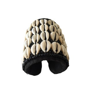 Tuareg Cowrie Shell Ceremonial Bracelet W/ Black Hand Band For Sale