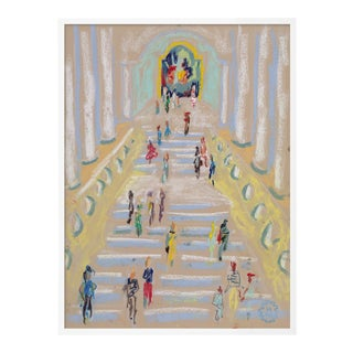 At the Museum by Happy Menocal in White Frame, XS Art Print For Sale