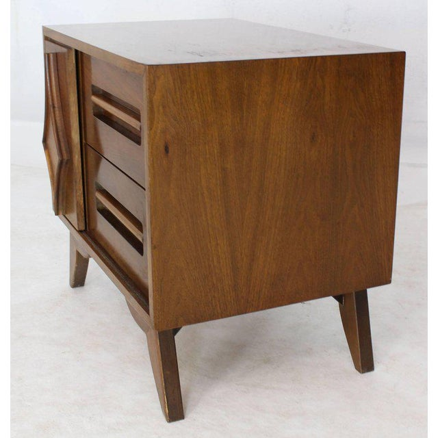 Pair of Large Walnut Nightstands End Tables with Small Bookcase For Sale In New York - Image 6 of 9