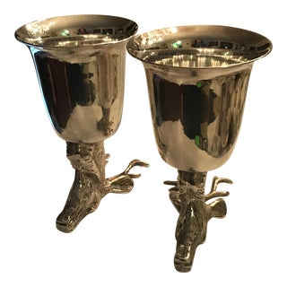 Vintage Dear Head Silver Plated Stirrup Cups - a Pair/ Final Price For Sale