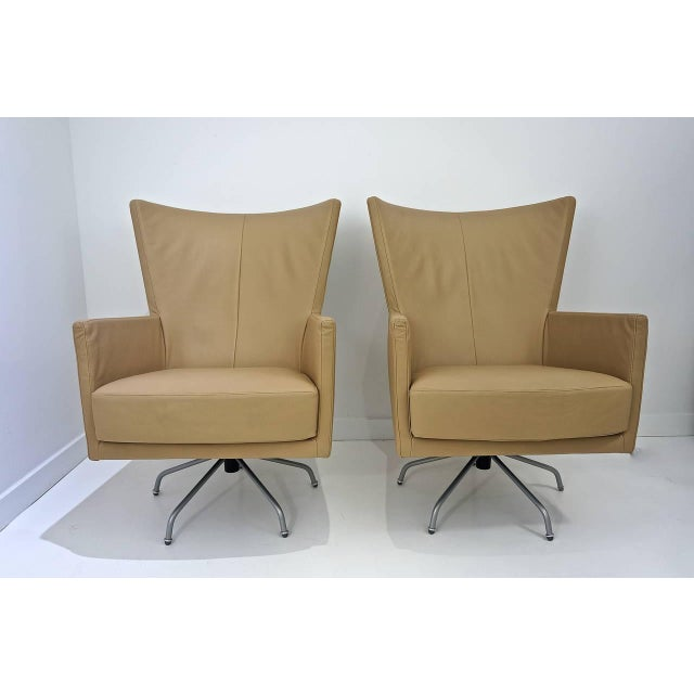 Pair of Modern, Italian, Swivel Lounge Chairs, Upholstered in Tan Color Leather - Image 6 of 9
