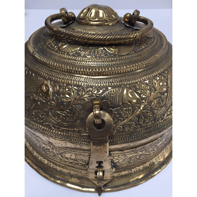 Beautiful hand-crafted decorative round bronze Anglo-Indian box with lid, latch and handle delicately and intricately...