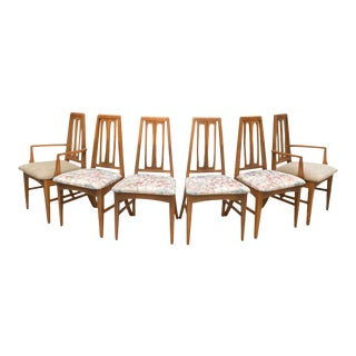 Mid Century Modern Young Manufacturing Co. Walnut Dining Chairs - Set of 6 For Sale