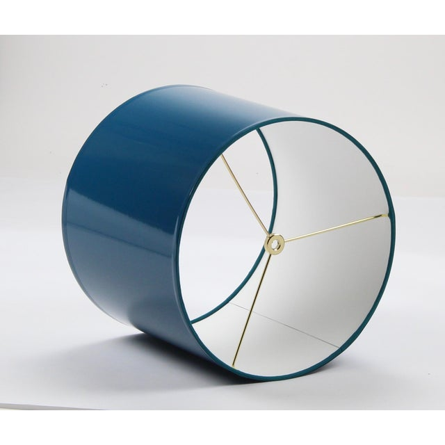 High Gloss Drum Lamp Shade Made To Order: 1-2 week lead time Individually hand-made Exterior Color: Teal Blue Interior...