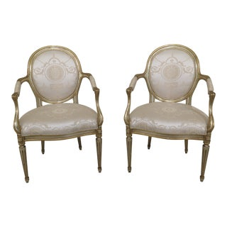 Pair French Silver & Gold Leaf Open Arm Chairs For Sale