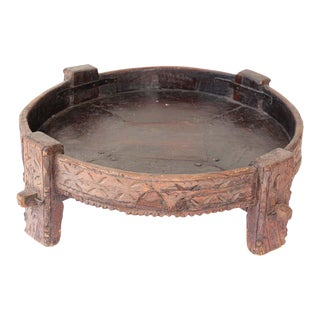 Mid 20th Century Tribal Round Low Coffee Table For Sale