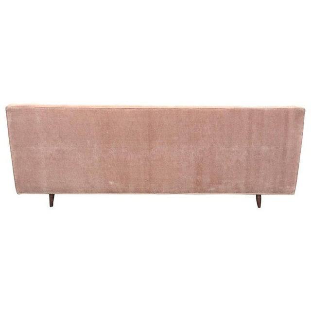 Mid-Century Modern Pink Blush Velvet Mid-Century Modern Sofa With Tufted Back For Sale - Image 3 of 6