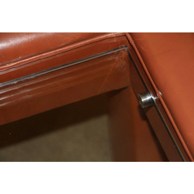 Leather Wrapped Coffee Table With Glass Insert For Sale - Image 4 of 10