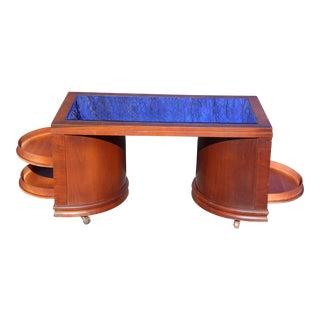 Vintage Art Deco Cobalt Mirror Blue Glass Coffee Table Speakeasy Cocktail Bar For Sale