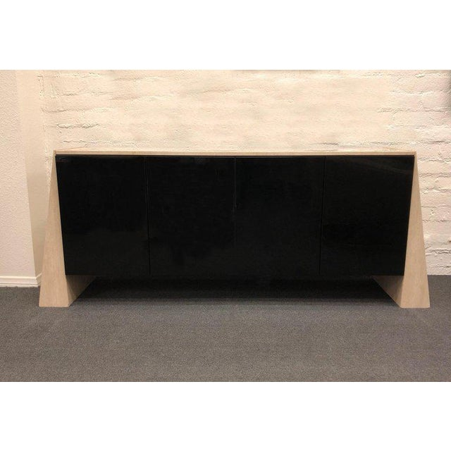 Italian Travertine and Black Lacquered Credenza For Sale In Palm Springs - Image 6 of 8