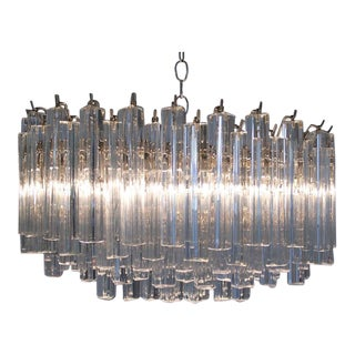 1970s Camer Glass Alberto Dona Murano Tiered 109 Prism Chandelier For Sale
