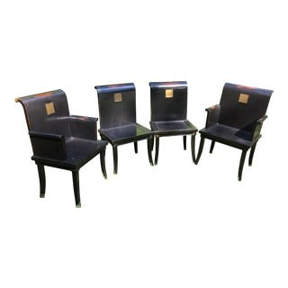 Set of Four Chinese Style Wooden Dining Chairs