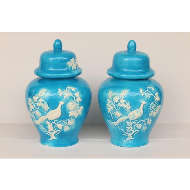 Blue Bird Ginger Jars - Pair - Image 2 of 5