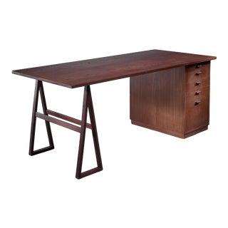 Teak Veneered Desk, Sweden For Sale