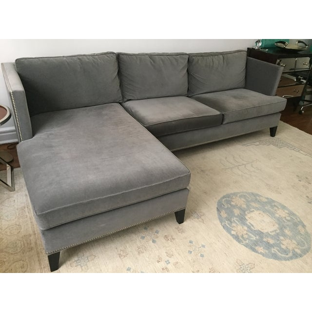 Williams Sonoma Home Grey Velvet Sectional - Image 2 of 3