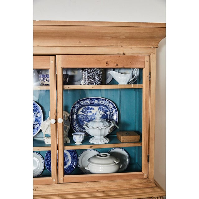 Pine Cabinet W/Blue Interior For Sale - Image 9 of 10