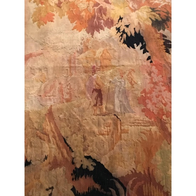 Beautiful continental wool tapestry with pastoral scene, late 19th century.