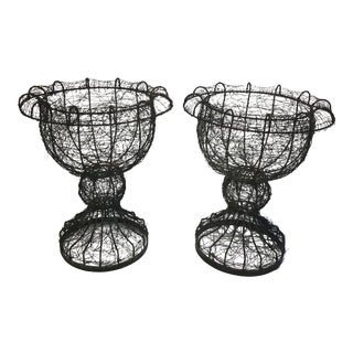 Antique English Wire Planters - a Pair For Sale