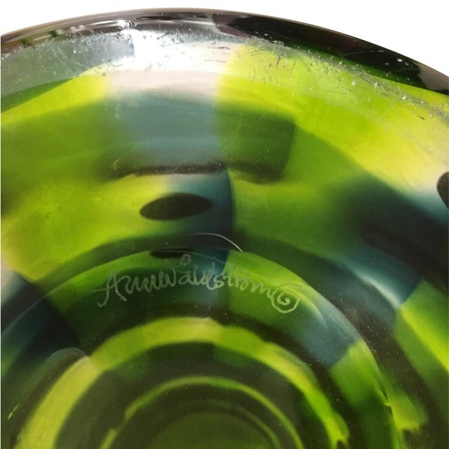Mid-Century Modern Mid-Century Modern Swedish Ann Wahlstrom Green Glass Vase For Sale - Image 3 of 5
