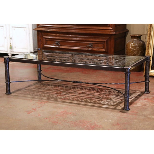 Iron Coffee Table Made With 19th Century French Gate Balcony With Glass Top For Sale - Image 13 of 13