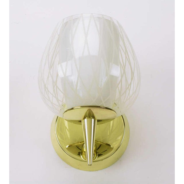 Pair of Gerald Thurston for Lightolier Etched Glass and Brass Sconces For Sale In Chicago - Image 6 of 11