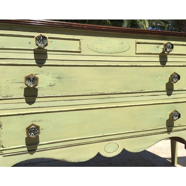 Sheraton Vintage Green Milk Paint Buffet Sideboard Credenza For Sale - Image 4 of 11
