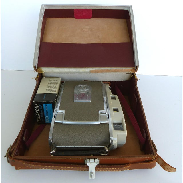Mid-Century Polaroid Camera in Original Leather Case For Sale - Image 9 of 9