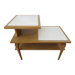 Mid- Century Modern Three Tiered Tile Top End Table