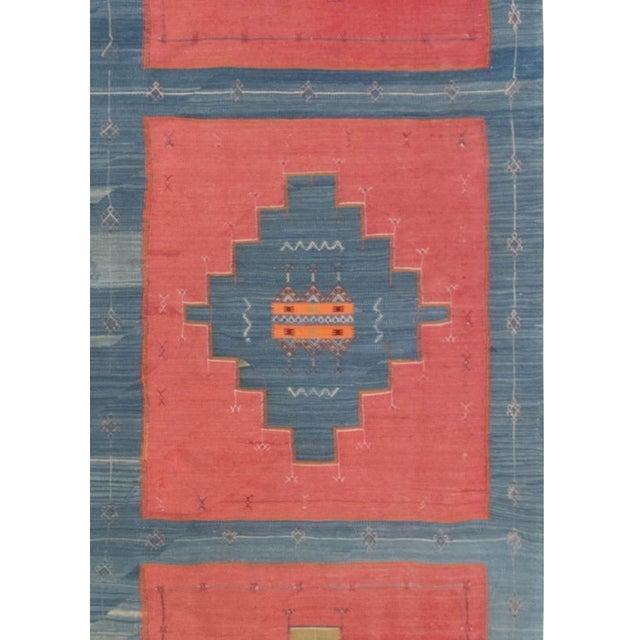 Mid 20th Century Blue, Pink and Sandy Beige Vintage Turkish Kilim Rug For Sale - Image 5 of 9