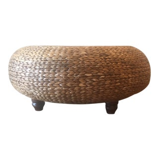 Large Round Woven Abaca Ottoman Coffee Table For Sale