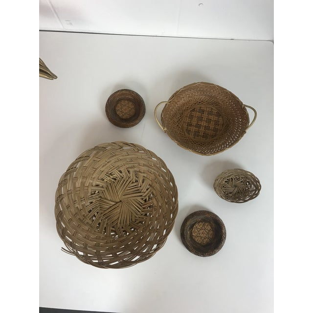 Brown Wicker Wall Hanging Baskets - Set of 5 For Sale - Image 8 of 8