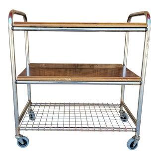 Vintage Wood & Chrome Bar Cart For Sale