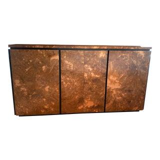 1970s Burled Wood Veneer Credenza Milo Baughman Inspired For Sale