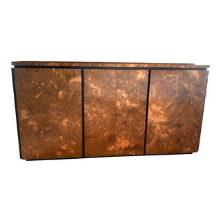 1970s Burlwood Veneer Credenza Milo Baughman Inspired for Home Office For Sale