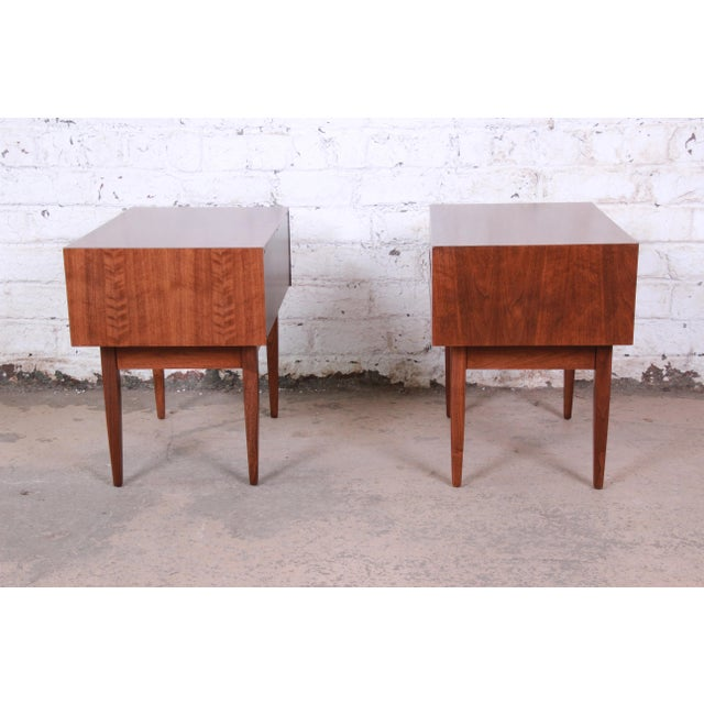 Mid-Century Modern Walnut Nightstands by West Michigan Furniture Co. - a Pair For Sale - Image 9 of 11